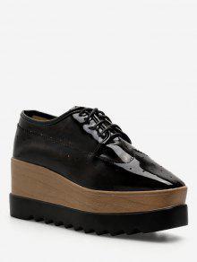 حذاء سنيكرز بمقدمة مربعة واربطة متقاطعة - أسود الاتحاد الأوروبي 37