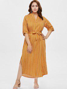 بالاضافة الى حجم شق حزام فستان مخطط - الذهب البرتقالي 1x