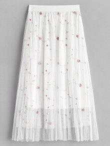 مش التطريز تراكب تنورة - أبيض