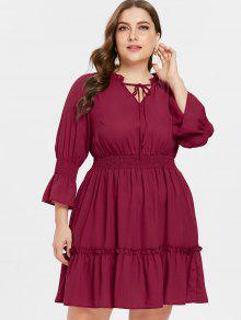ZAFUL بالاضافة الى حجم Flounced مضيئة كم فستان - نبيذ احمر L