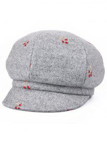 الأزهار التطريز الأنيق قبعة موزع الصحف - سحابة رمادية
