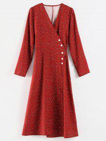 فستان بنمط شق من Polka Dot - نبيذ احمر L