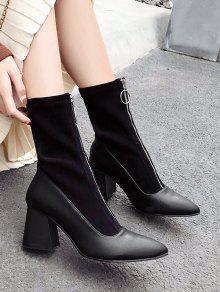cb4694a2a827 59% OFF  2019 Chunky Heel Pointed Toe Zip Front Boots In BLACK
