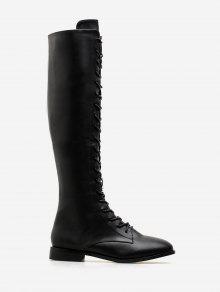 بو الجلود الدانتيل يصل أحذية عالية في الركبة - أسود الاتحاد الأوروبي 36