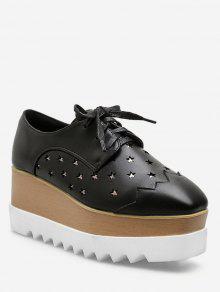 لامعة ستار أعلى منخفض منصة عالية أحذية رياضية - أسود الاتحاد الأوروبي 38