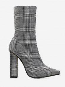 حذاء مكتنزة كعب Houndtooth قصيرة - ازرق رمادي الاتحاد الأوروبي 38