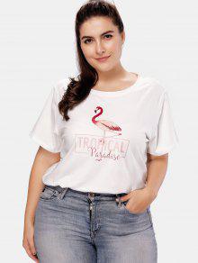 قميص فلامينجو جرافيك بلس مقاس كبير - أبيض 3x