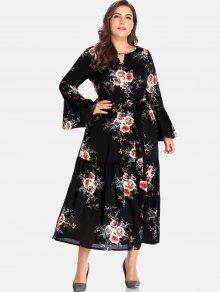 الأزهار انقطاع زائد حجم فستان ماكسي - أسود 3x
