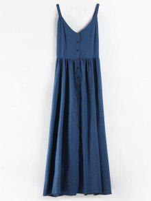 بالاضافة الى حجم زر حتى فستان شامبراي ماكسي - أزرق 3x