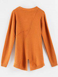 e184e68e4ea70f 64% OFF] 2019 Textured High Low Slit Sweater In ORANGE SALMON | ZAFUL