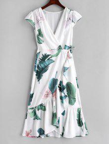 فستان بنمط لف من الورقة الورقية - أبيض L