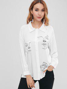 الوجه طباعة قميص صديقها - أبيض