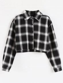 قميص منقوش - أسود S