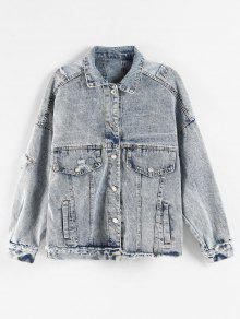 Bleach Wash Ripped Denim Jacket - ضباب أزرق L