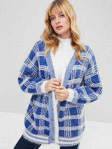 Button Front Checked Cardigan
