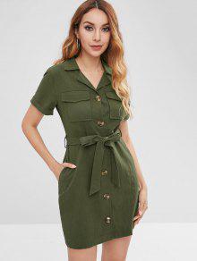 زر من خلال مربوط قميص اللباس - الجيش الأخضر M