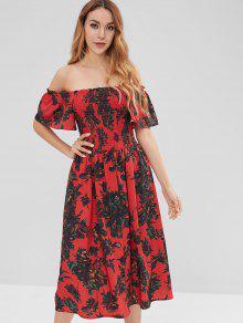 سموكيد الزهور قبالة الكتف اللباس - أحمر L