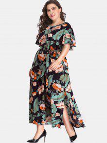 الشق الجانب الأزهار زائد حجم فستان ماكسي - متعدد 5x
