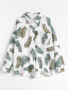 قميص بطبعات أوراق القطن - أبيض