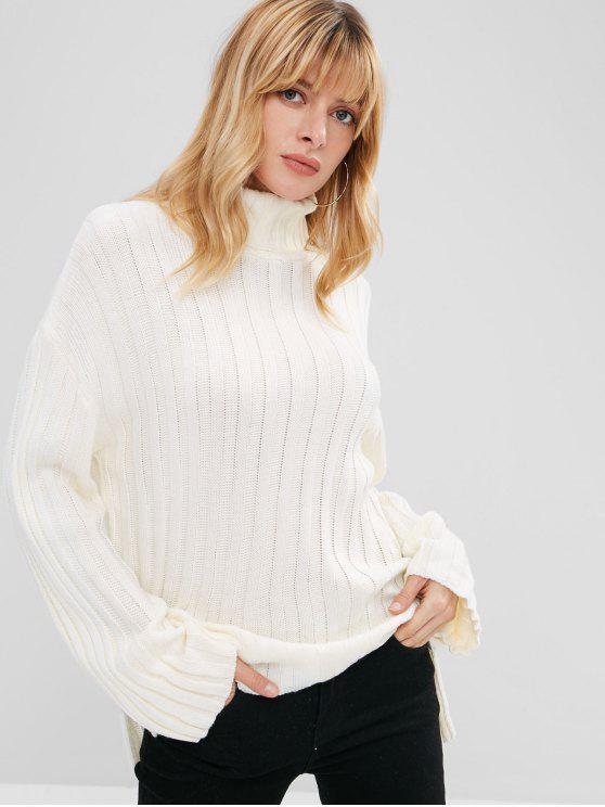 Seitliche Schlitz Rollkragen Pullover - Weiß Eine Größe