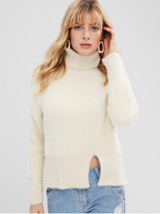 ladies Slit Textured Turtleneck Sweater - BEIGE ONE SIZE