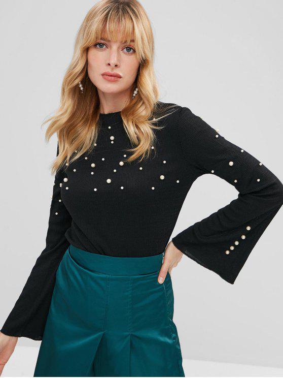 latest Ribbed Flare Sleeve Faux Pearls Sweater - BLACK L