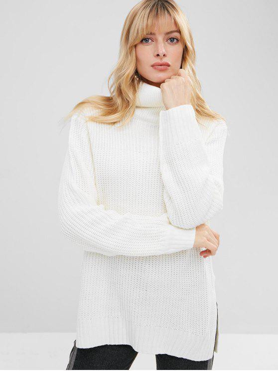 fancy High Low Side Slit Turtleneck Sweater - WHITE ONE SIZE