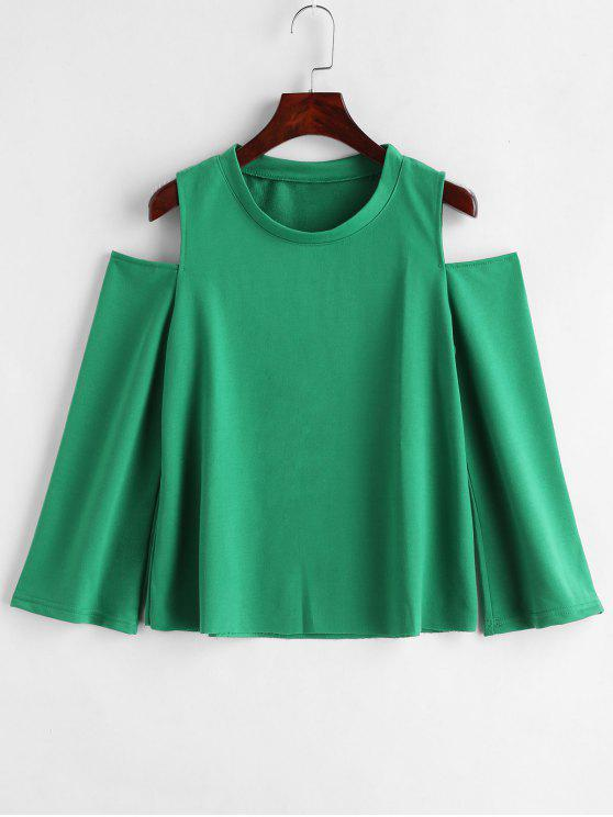 women's Open Shoulder Raw Hem Sweatshirt - DEEP GREEN 2XL