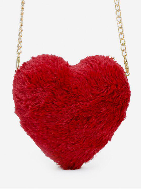 Sac bandoulière en forme de coeur en fausse fourrure - Rouge Lave