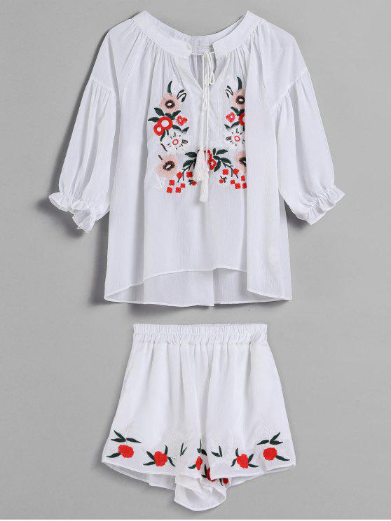 fashion Flower Embroidered Tassel Shorts Set - WHITE ONE SIZE
