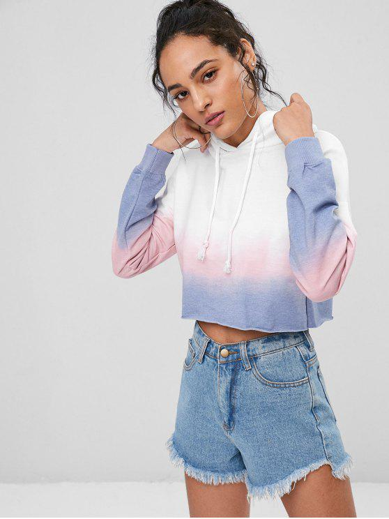 outfit Ombre Colored Cropped Hoodie - WHITE L