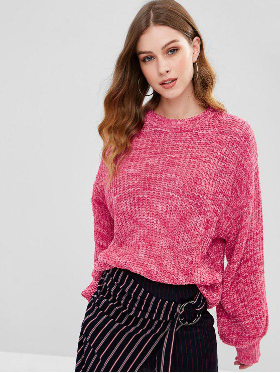 Lantern Sleeve Mehrfarbiger Chunky Sweater - Papaya Eine Größe