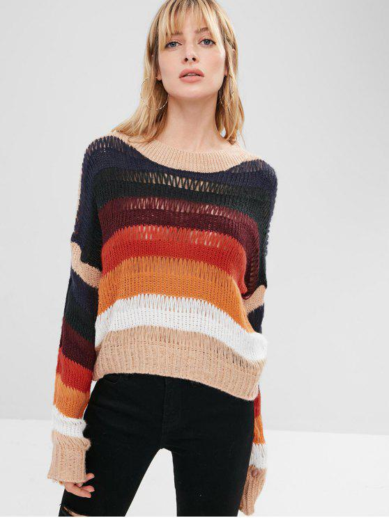 online Loose Knit Striped Sweater - MULTI ONE SIZE