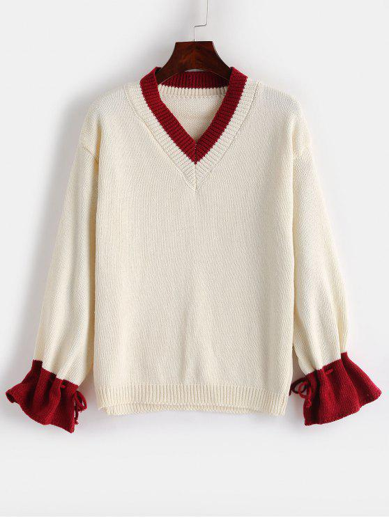 shops Contrasting Drawstring V Neck Sweater - WARM WHITE ONE SIZE