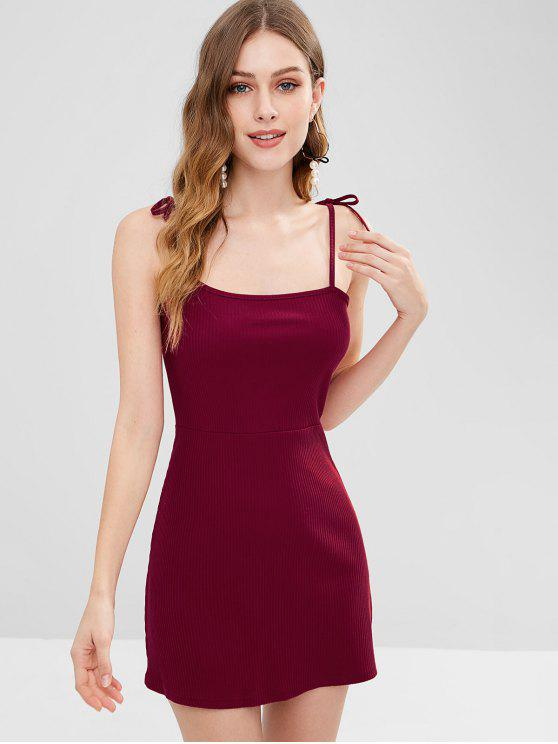 Womens Knitted Ribbed Slip Mini Dress Red Wine S