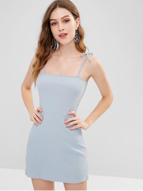trendy Knitted Ribbed Slip Mini Dress - STONE BLUE S