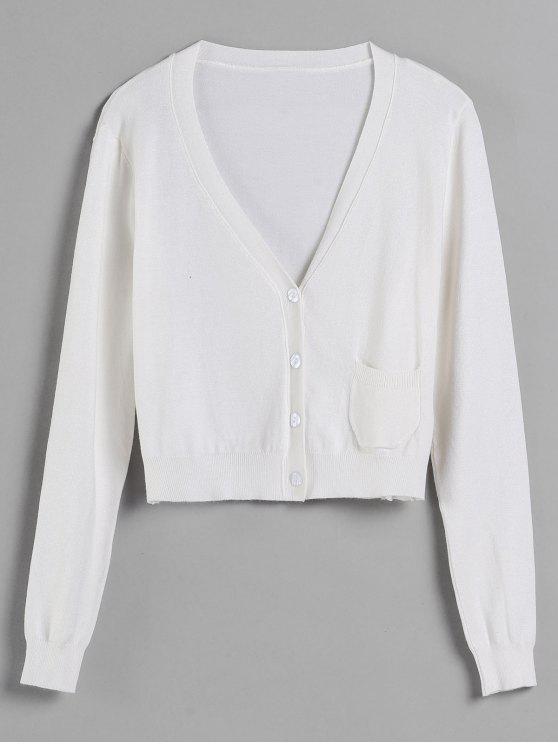 shops V Neck Pocket Cardigan - WHITE L