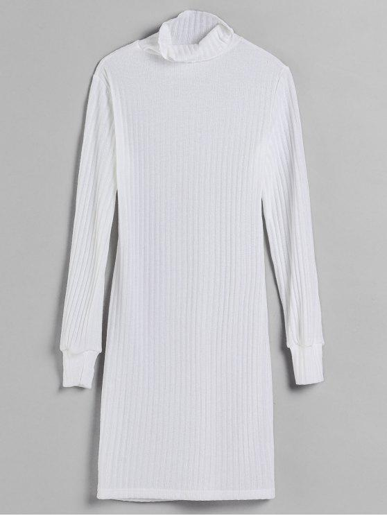 unique Turtleneck Fitted Knit Dress - WHITE M