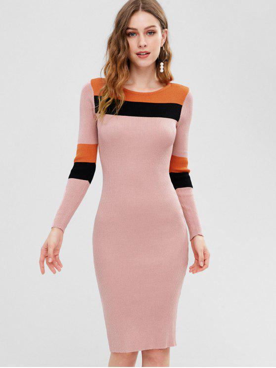 shop Color Block Ribbed Bodycon Dress - PIG PINK ONE SIZE