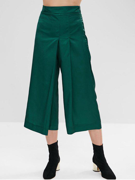 best Pleated Wide Leg Culotte Pants - MEDIUM SEA GREEN L