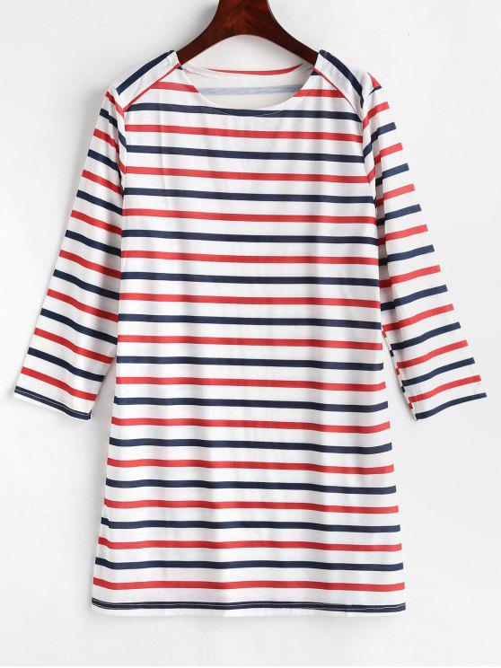 hot Striped Long Sleeve Tunic Dress - MULTI M