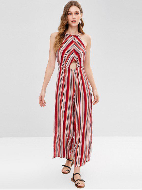 1789b22e0da 2019 Straigth Leg Backless Striped Halter Jumpsuit In MULTI L