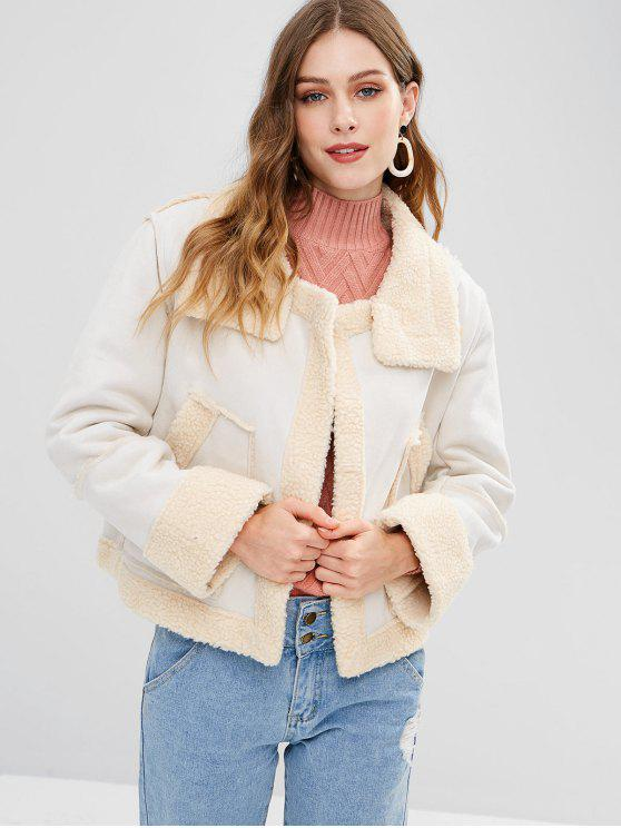 ladies Faux Suede Shearling Open Front Jacket - WHITE L