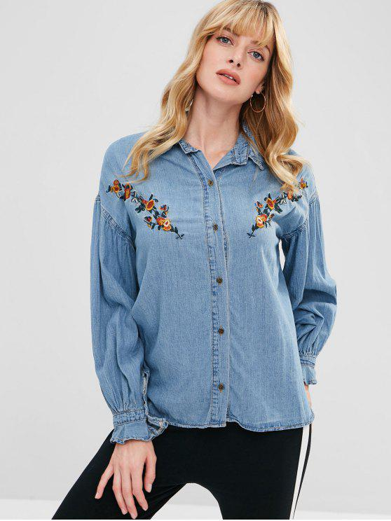 new Chambray Flower Embroidered Blouse - DENIM BLUE ONE SIZE