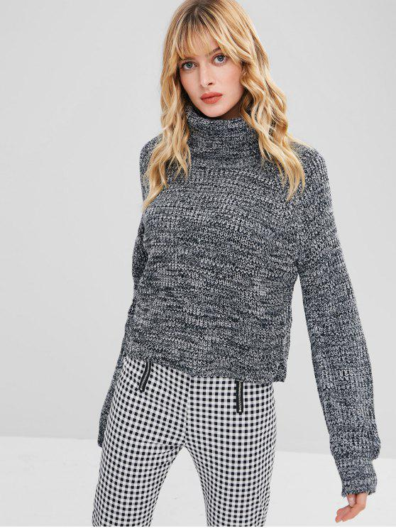 best Turtleneck Heathered Pullover Sweater - GRAY ONE SIZE