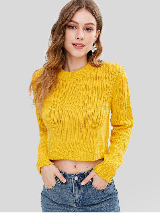 60% OFF  2019 Cable Knit Panel Pullover Cropped Sweater In YELLOW ... c5e9130f1