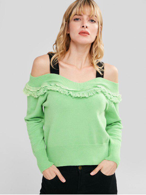 affordable Cold Shoulder Tassels Sweater - APPLE GREEN L
