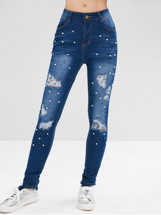 women Ripped Beads Embellished Jeans - DENIM DARK BLUE M