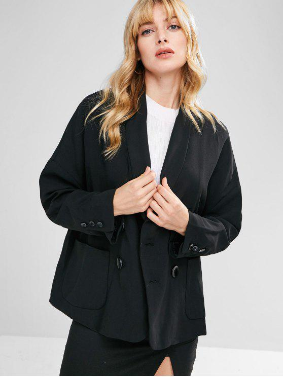 sale Loose Double Breasted Blazer - BLACK L