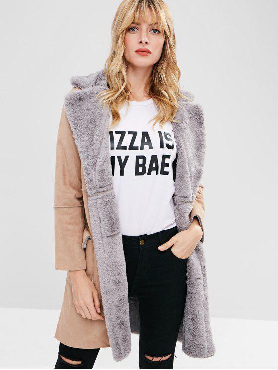 women Fur Collar Faux Suede Coat - TAN M